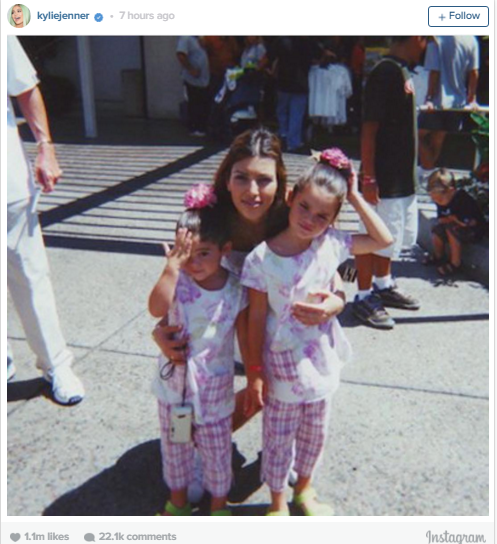 The Kardashian/Jenner clan were all about the cute throwback pic for Kim's 35th birthday, our favourite though? This one posted to Instagram by Kylie Jenner showing her and Kendall as tiny ones in matching outfits with big sis Kim looking after them. Simpler times!