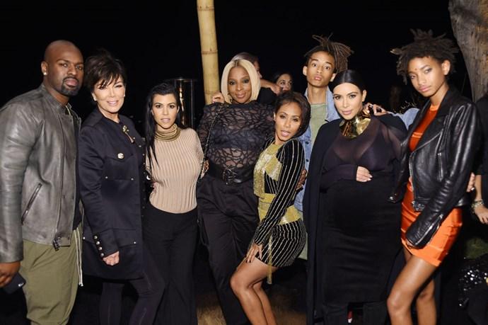 Corey Gamble, Kris Jenner, Kourtney Kardashian, Mary J. Blige, Jada Pinkett Smith, Jaden Smith, Kim Kardashian and Willow Smith