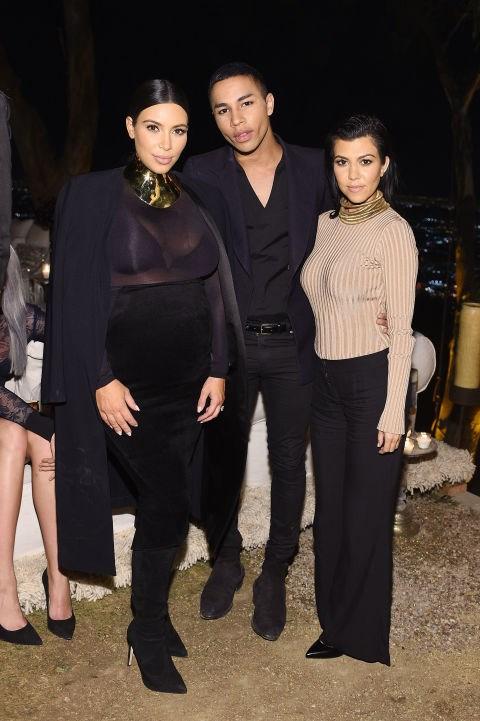 Kim Kardashian, Olivier Rousteing and Kourtney Kardashian