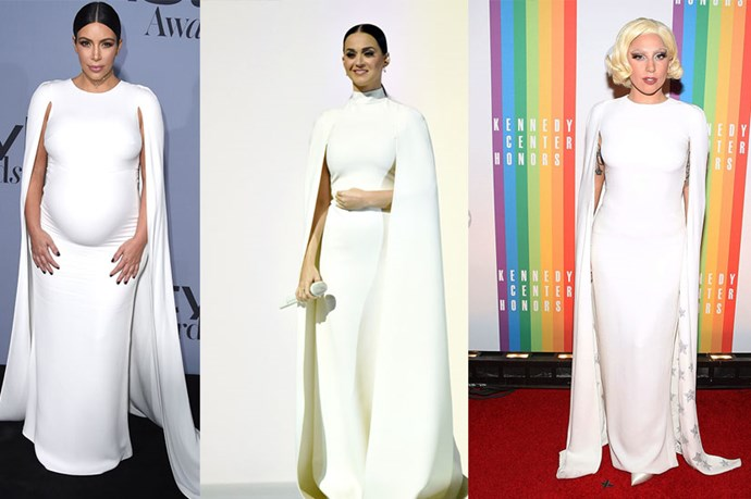 OK so this *dramatic* caped Valentino number is really doing the rounds. We've already noted that Lady Gaga and Katy Perry have worn it (so did Solange Knowles for her wedding) and now Kim Kardashian has taken it for a spin this week at the Instyle awards.<br><br> Basically it's the dress for everybody, though it must be said that it is certainly not one for shrinking violet types.