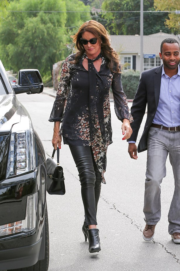 Legs for days! Caitlyn Jenner is the ultimate glamour with a little bit of edge in this leather look. Image:  AKM-GSI