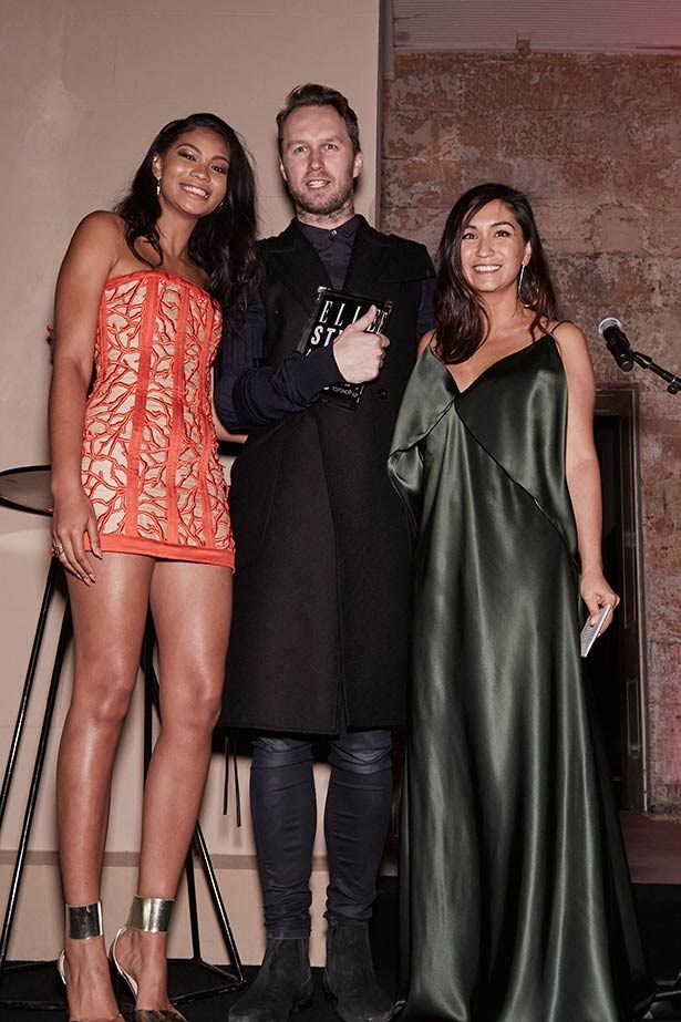 Chanel Iman, Toni Maticevski and Justine Cullen at the ELLE Style Awards.