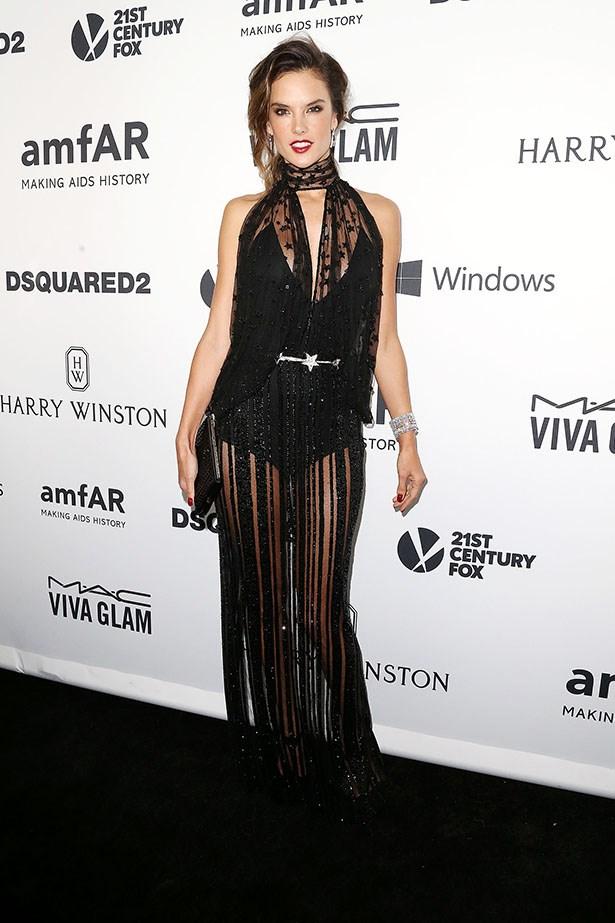 Alessandra Ambrosio attends the AmfAR Inspiration Gala in LA.