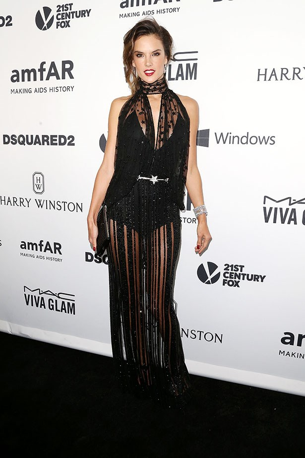 Alessandra Ambrosio attends the AmfAR Inspiration Gala in LA.