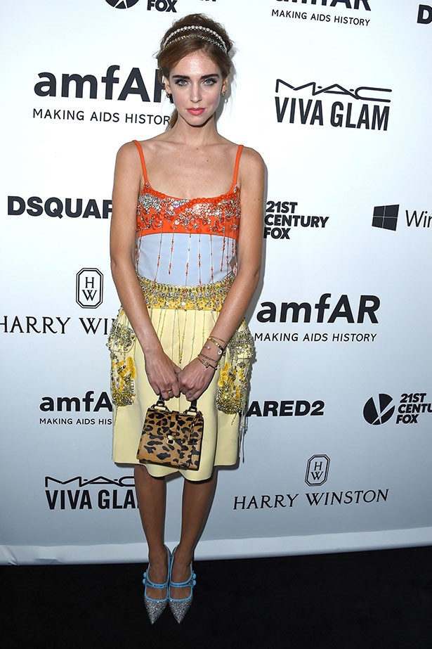 Chiarra Ferrigni attends the AmfAR Inspiration Gala in LA.
