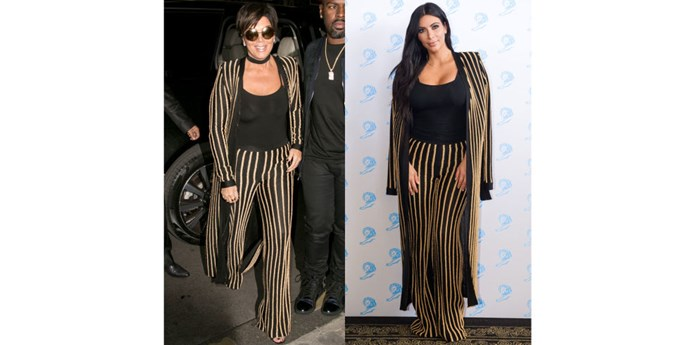 BALMAIN STRIPED SUIT TWINS GETTY