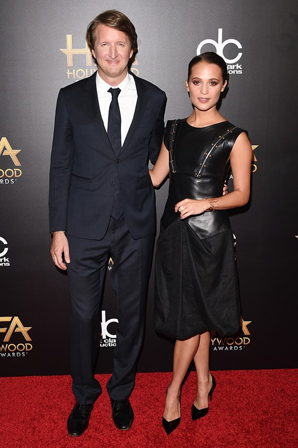Tom Hooper and Alicia Vikander at the Hollywood Film Awards.