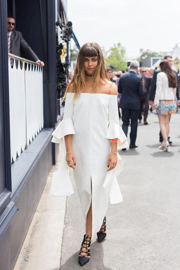 Name:  Mimi Elashiry<br><br> Outfit: Hlsk headpiece, Senso heels, Ellery dress<br><br> Race day: Melbourne Cup 2015 <br><br> Location: Flemington, Melbourne
