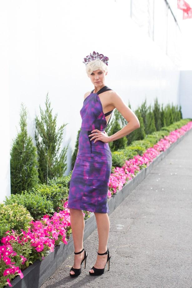 Name: Kate Peck<br><br. Outfit: Aurelio Costarella dress, millinery Viktoria Novak<br><br> Race day: Melbourne Cup 2015 <br><br> Location: Flemington, Melbourne