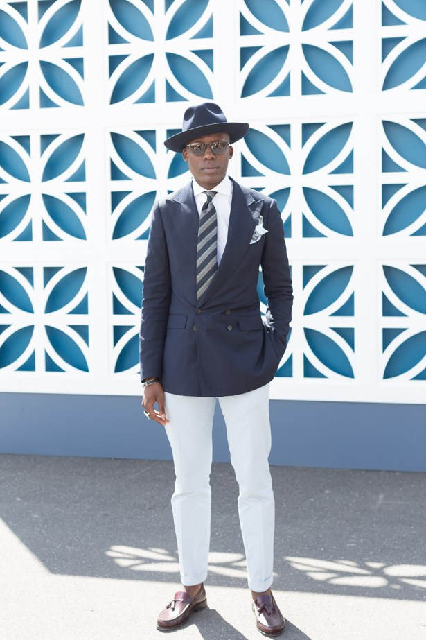 Name: Palmer Mutandwa<br><br> Outfit: Oscar Hunt jacket, Ralph Lauren shirt and pants. Borsalino hat<br><br> Race day: Melbourne Cup 2015 <br><br> Location: Flemington, Melbourne