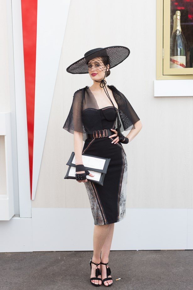 Name: Emily Louise Thomas<br><br> Outfit: Jason Grech dress and cap, Richard Nylon hat<br><br> Race day: Melbourne Cup 2015 <br><br> Location: Flemington, Melbourne