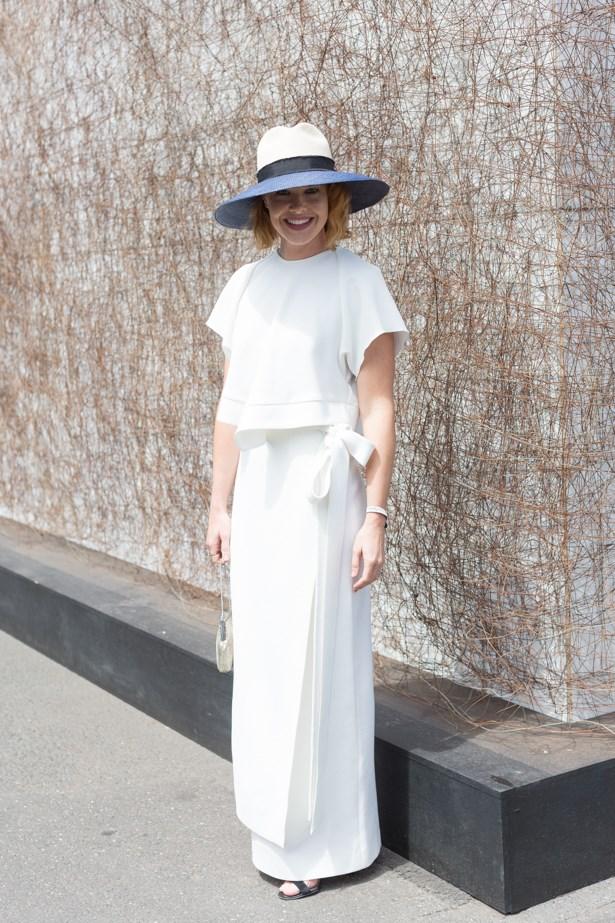 Name: Krew Boylan<br><br> Outfit: Ellery top and skirt, Nerida Winter hat, shoes Manolo Blahnik, vintage clutch<br><br> Race day: Melbourne Cup 2015 <br><br> Location: Flemington, Melbourne