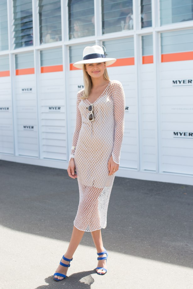 Name: Megan Irwin<br><br> Outfit:  dress vintage Harry Who, hat Dressed By Tess, bag Mimco<br><br> Race day: Melbourne Cup 2015 <br><br> Location: Flemington, Melbourne