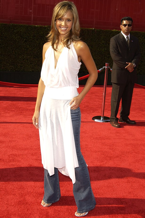 Just another example of dresses over jeans, which was a very strong look in the early oughts. Image: Getty