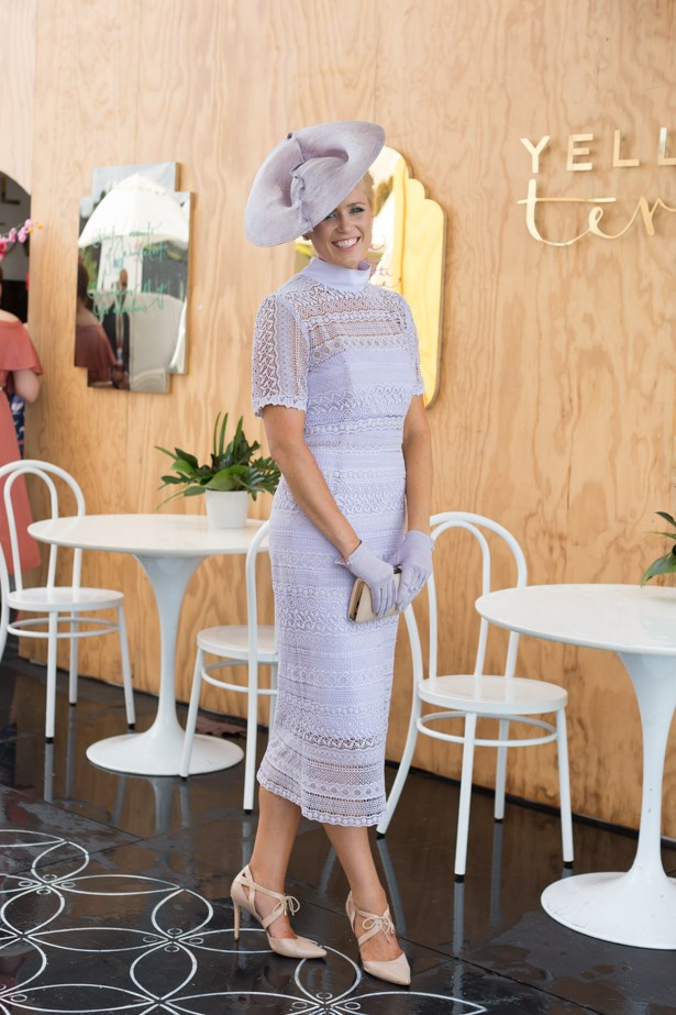 Name: Alice Bright<br><br> Outfit: Millinery by Melissa Jackson, Alice Bright dress and vintage gloves<br><br> Race day: Oaks Day 2015 <br><br> Location: Flemington, Melbourne