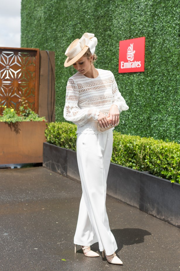Name: Bree Laughlin<br><br> Outfit: Acler pants and Asilio top with Jill and Jack millinery <br><br> Race day: Oaks Cup 2015 <br><br> Location: Flemington, Melbourne