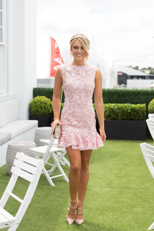 Name: Elyse Knowles<br><br> Outfit: custom dress, shoes Tony Bianco, millinery Viktoria Novak<br><br> Race day: Melbourne Cup 2015 <br><br> Location: Flemington, Melbourne