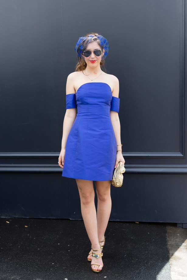 Name: Pascale Coade<br><br> Outfit: Dress Carven, Tabitha Simmons shoes,  Scanlan millinery<br><br> Race day: Oaks Day 2015 <br><br> Location: Flemington, Melbourne