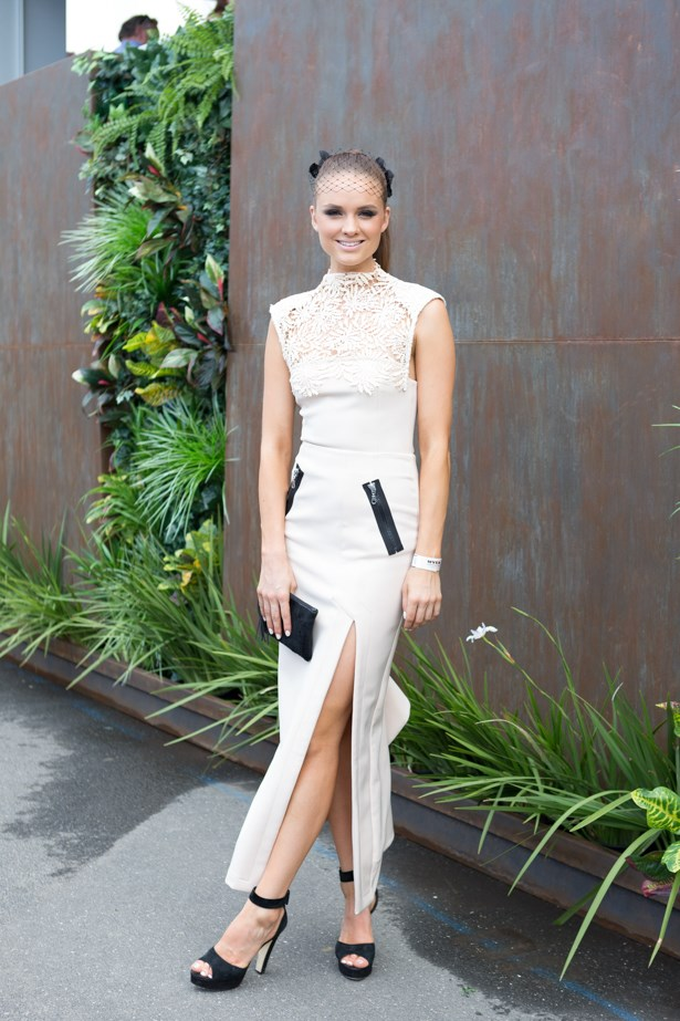Name: Laura Henshaw<br><br> Outfit: White Suede dress<br><br> Race day: Melbourne Cup 2015 <br><br> Location: Flemington, Melbourne