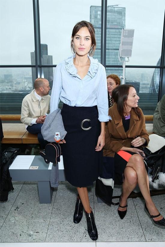 Alexa Chung at the Christopher Kane SS16 Show during London Fashion Week