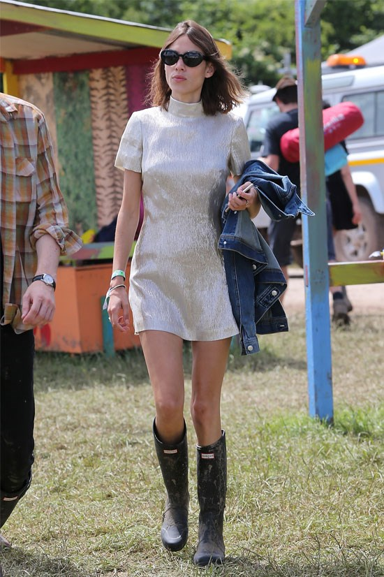 Alexa Chung at the Glastonbury Festival this year