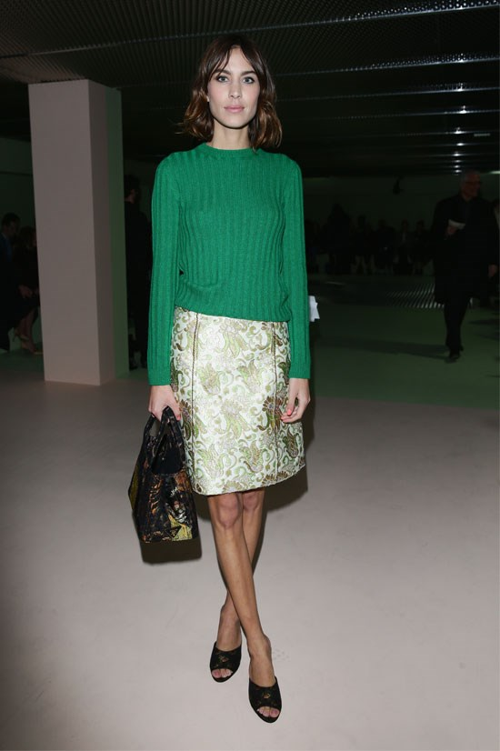 Alexa Chung at the Prada AW15 Show during Milan Fashion Week