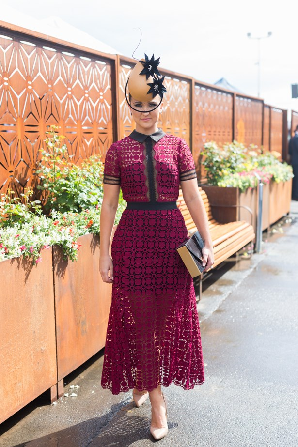 Name: Whitney Berry<br><br> Outfit: Self Portrait dress,  Meka millinery, shoes Tony Bianco<br><br> Race day: Oaks Day 2015 <br><br> Location: Flemington, Melbourne