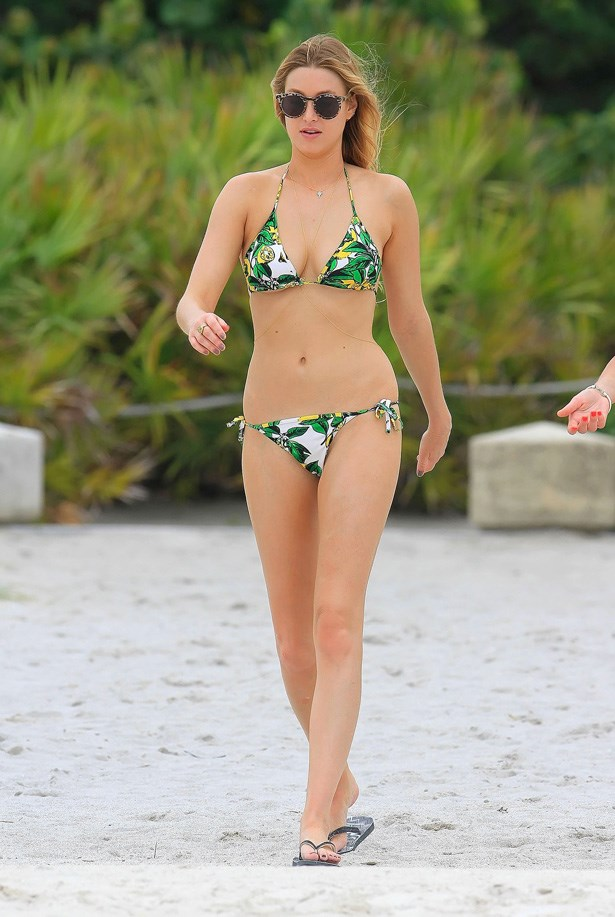 Whitney goes Tropicana in this bikini.