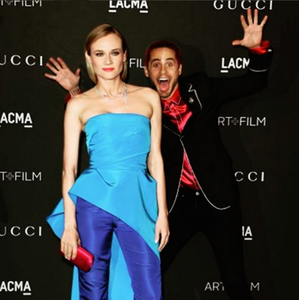 """Jared Leto is truly a gifted photobomber, and it's a skill that he deploys often.<br><br> His most recent attempt is this photobomb of Diane Kruger at the LACMA Art and Film Gala. It is a truly worthy entrant into the celebrity photobomb hall of fame. <br><br> Diane posted the photo to her Instagram with this thinly veiled threat, """"Just you wait, I'll get you back f.....👻 @jaredleto"""". We can't wait, actually."""