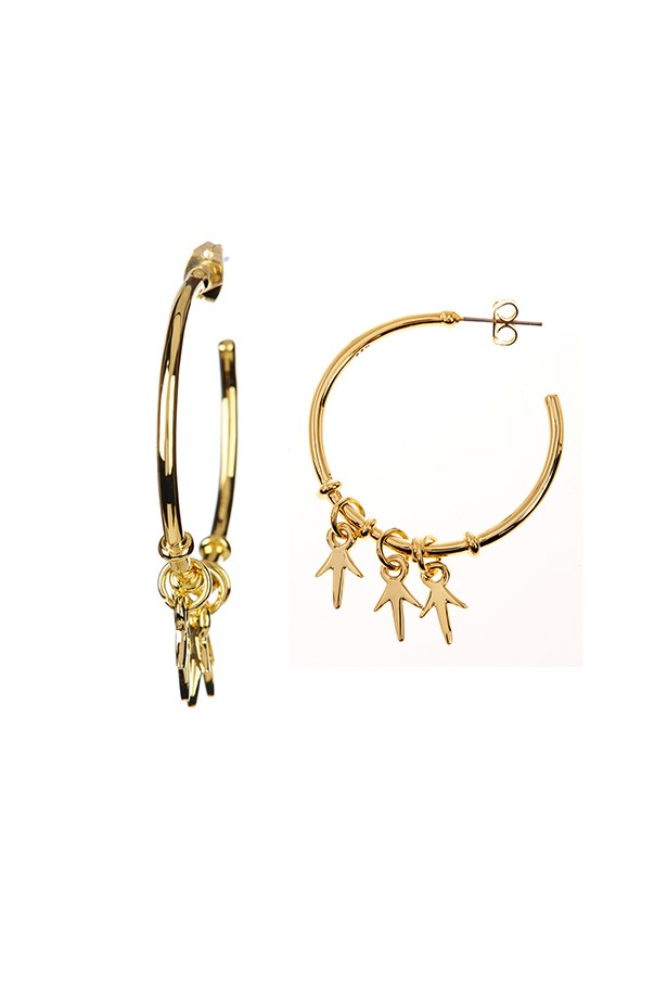 "Charm hoop earrings, $107, <a href=""http://www.thedarkhorse.com.au/shopping/EARRINGS/THORN-CHARM-HOOP-EARRINGS-GOLD---GILES---BROTHER"">The Dark Horse</a>"