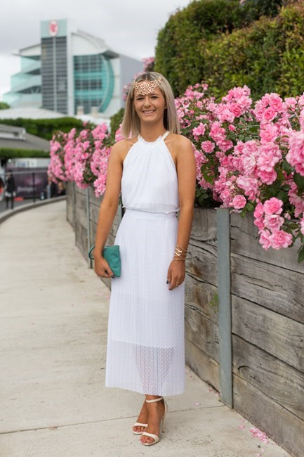 Name: Annelise Robinson Outfit: Bec and Bridge dress, Kookai millinery, Windsor Smith shoes Race day: Stakes Day 2015 Location: Flemington, Melbourne