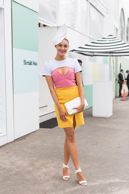 Name: Brooke Meredith Outfit: Yeojin Bae dress, millinery the Eternal Headonist, shoes Wittner, bag Forever New Race day: Stakes Day 2015 Location: Flemington, Melbourne