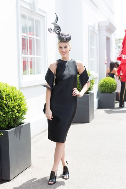 Name: Crystal Kimber Outfit: millinery Rebecca Share, Christopher Kane dress, Alexander Wang heels, Louis Vuitton bag Race day: Stakes Day 2015 Location: Flemington, Melbourne