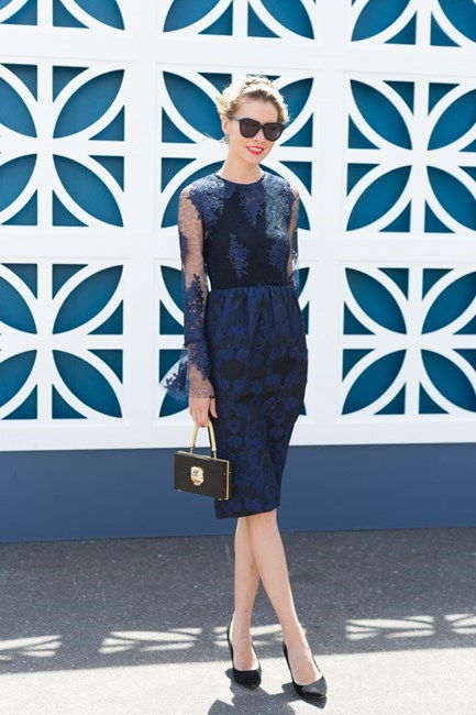 Name: Dasha Gold Outfit: Nicolas Finetti dress, Charlotte Olympia bag, Christie millinery Race day: Stakes Day 2015 Location: Flemington, Melbourne