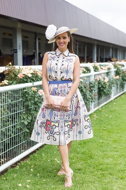 Name: Brodie Worrell Outfit: millinery Felicity North East, Peter Pilotto top and skirt, YSL bag, shoes Nude Race day: Stakes Day 2015 Location: Flemington, Melbourne