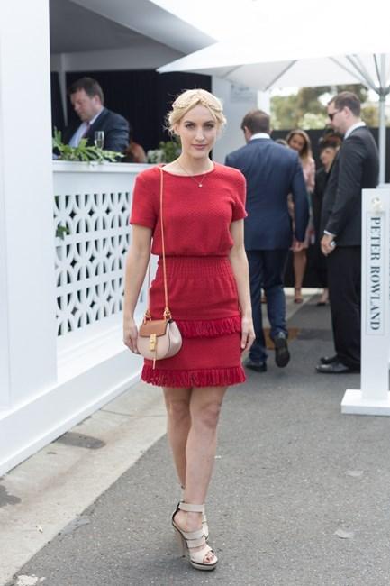 Name: Skye Vallve Outfit: Maje dress, millinery Jennifer Behr, shoes Balenciaga, bag chloe Race day: Stakes Day 2015 Location: Flemington, Melbourne