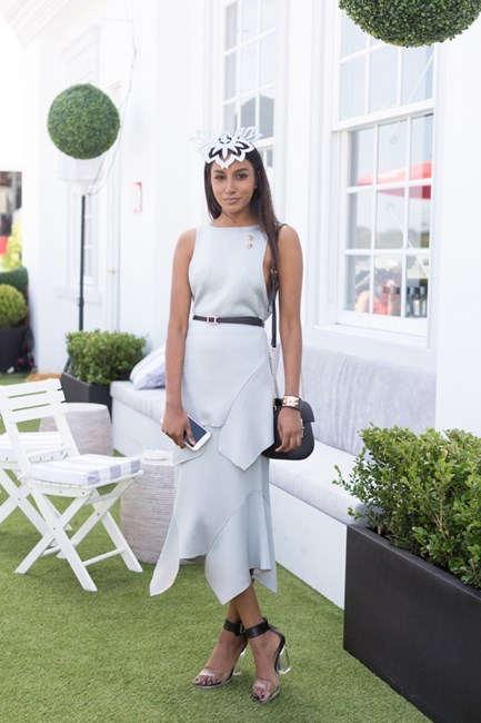 Name: Vydia Rishie Outfit: Cameo top and skirt, Danica Erad millinery, shoes Roc, bag Novo Race day: Stakes Day 2015 Location: Flemington, Melbourne