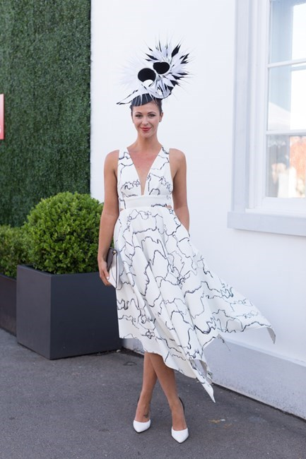 Name: Hayley Collins Outfit: millinery Bespoke, dress Sheike, bag Nine West Race day: Stakes Day 2015 Location: Flemington, Melbourne