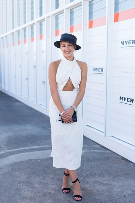 Name: Chantelle Catena Outfit: Dress Nicholas, dhoes and bag Zara Race day: Stakes Day 2015 Location: Flemington, Melbourne