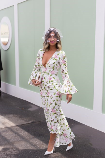Name: Cynthia Farchione Outfit: Millinery the Eternal Headonist, dress Asilio, shoes Wittner, Olga Berg Race day: Oaks Day 2015 Location: Flemington, Melbourne