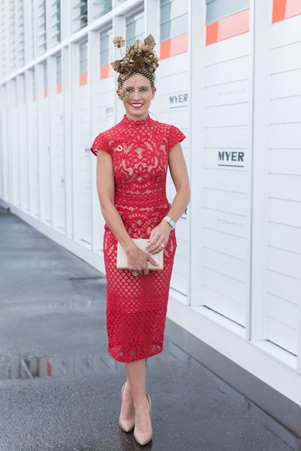 Name: Chantelle Buckley Outfit: Lover dress, millinery Ambrose Designs Race day: Oaks Day 2015 Location: Flemington, Melbourne