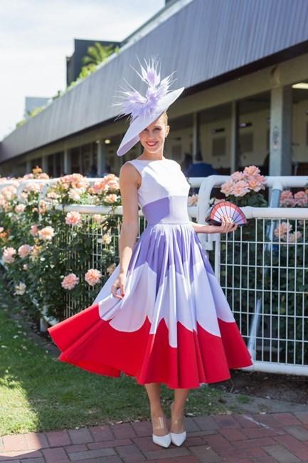 Name: Crystal Kimber Outfit: millinery Jill & Jack, dress bespoke Race day: Melbourne Cup 2015 Location: Flemington, Melbourne