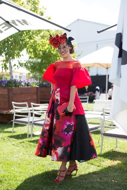 Name: Emma Scodellaro Outfit: millinery Jill and Jack, top and skirt Craig Braybrook couture, shoes Valentino Race day: Melbourne Cup 2015 Location: Flemington, Melbourne