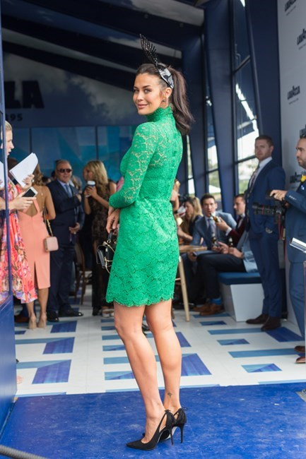 Name: Megan Gale Race day: Melbourne Cup 2015 Location: Flemington, Melbourne