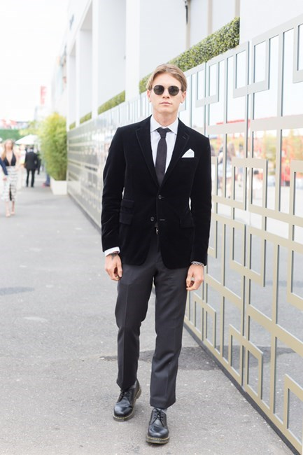 Name: Adil Taylor Outfit: Ralph Lauren suit, Doc Marten shoes Race day: Melbourne Cup 2015 Location: Flemington, Melbourne