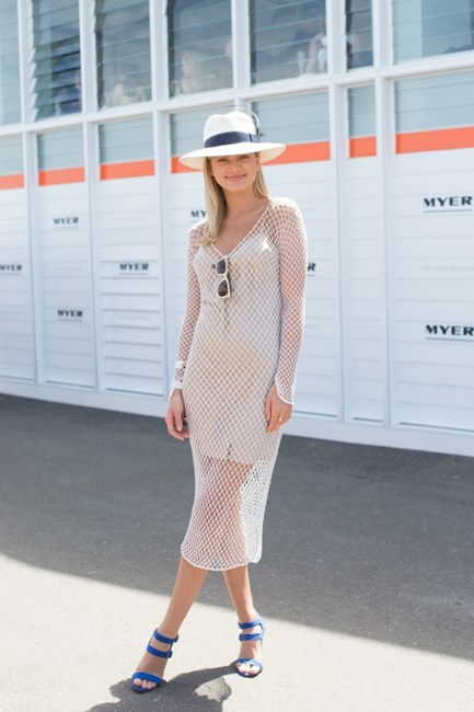 Name: Megan Irwin Outfit: dress vintage Harry Who, hat Dressed By Tess, bag Mimco Race day: Melbourne Cup 2015 Location: Flemington, Melbourne