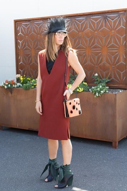 Name: Emma Van Haandal Outfit: Celine dress and bag, Nerida winter hat, Dior booties, Lucy folk sunnies Race day: Melbourne Cup 2015 Location: Flemington, Melbourne