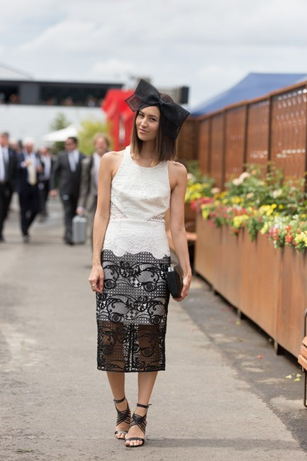 Name: Emily Highfield Outfit: Thurley dress, Tony Bianco shoes, Studio Aniss head pieces Race day: Derby Day 2015 Location: Melbourne