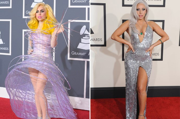 In the interest of journalistic honesty, we will disclose that Lady Gaga hasn't totally given up her voyeuristic sartorial ways, but wasn't it good to see her go from meat dress to va-va-voom siren?