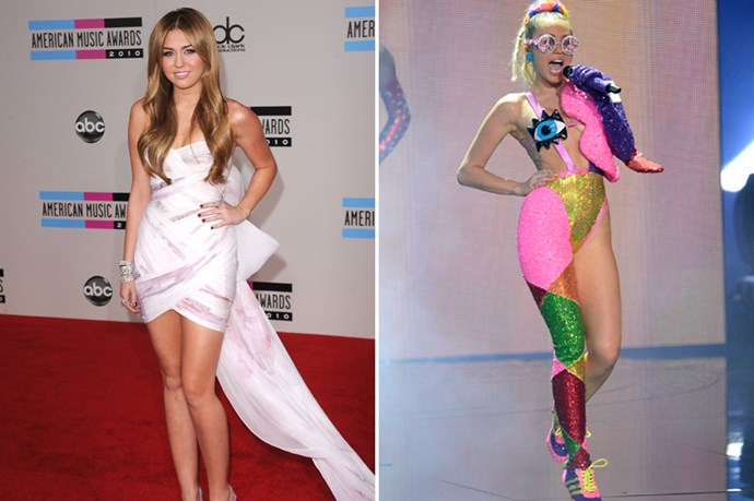 Whilst this transition might not have been one in the traditional sense, it certainly is a 'transformation;. Miley Cyrus went from country princess with an acting gig like no other, to tongues-out, crotch-out shock factor.